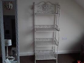 Tall shabby chic metal shelves