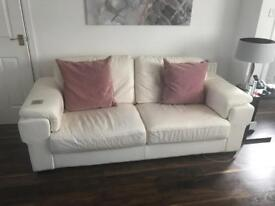 Ivory leather 3 piece suite with footstool