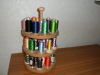 Machine Embroidery threads with wooden storage stand
