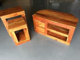 Next Solid Mango Wood TV Unit and Nest of Two Tables