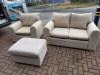 2 seater cream corduroy sofa with 1 armchair and 1 storage foot stool