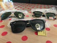 NEW BOXED UV400 Ray Ban Aviator Clubmaster Wayfarer Black Sunglasses Shades Summer - Fits all Faces