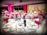 Wedding Reception Decoration £4 Chair cover rental 79p Martini Vase Hire Crockery Hire Wedding 20p