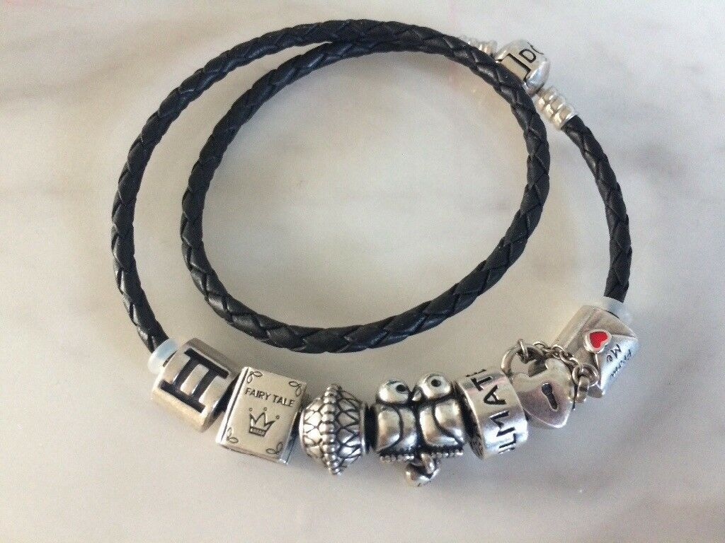 Genuine Pandora leather band and charms