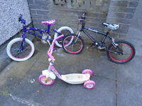 """2 CHILDRENS BICYCLES with 15"""" WHEELS and 1 SCOOTER, USED BY MY GRANDCHILDREN"""