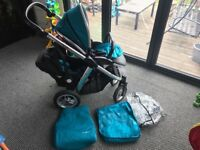 oyster max double/tandem comes with 1xcar seat 1xseat rain over and colour pack. great condition