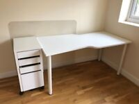 Ikea Desk, Drawer Unit and Floor Protector in White