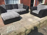 Black Leather and Grey Fabric 3 Seater+Chair and Footstool. Can be corner sofa
