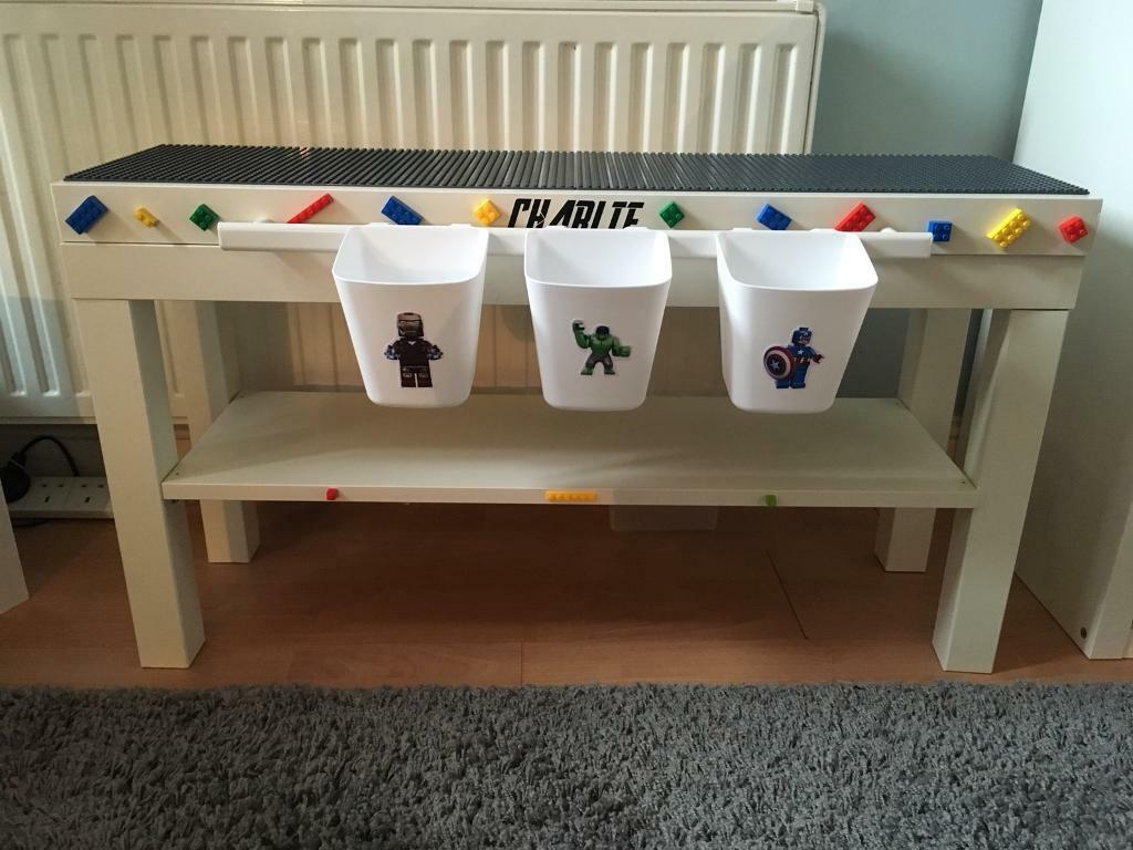 Children's Avengers themed Lego play table