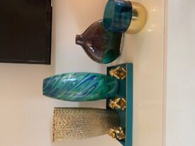 Beautiful unusual gold blue and green vases and ornament bundle.