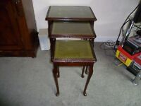 Nest of Tables-mahogany, tooled leather inserts with plate glass tops-VGC