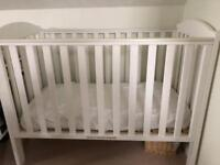 Mothercare white Takeley cot with dropside, mattress and mattress protector