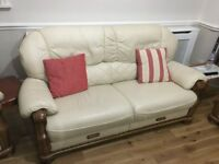 lovely six seater cream leather sofa