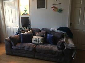Grey silver 3 seater sofa