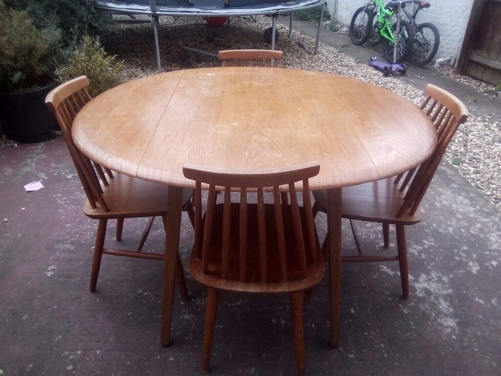 Vintage retro ercol drop leaf round dining kitchen table ebay - Vintage Retro Ercol Drop Leaf Table And X4 Chairs