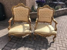 Pair of stunning carved Gilt Wood arm chairs