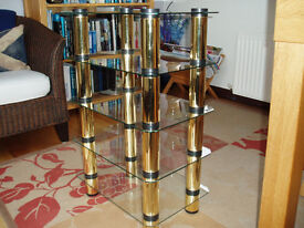 5 Shelf Stereo (or music) Stand. Toughened clear glass with gold trim. Excellent condition.