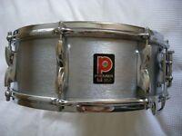 "Premier Model 37 Hi Fi alloy snare drum 14 x 5 1/2"" - England - Circa '72 - Brushed Chrome"