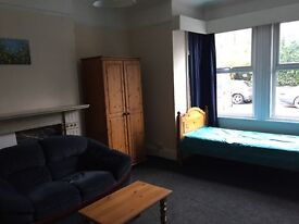Large comfortable furnished single Bedsit close to Town centre