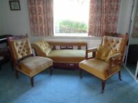 Victorian 3 piece suite with chaise longue