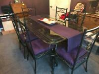 Lovely dining table, 6 chairs with matching tall glass cabinet