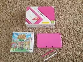Baby pink Nintendo 3ds xl boxed with charger and animal crossing New leaf