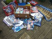 Dr Who job lot large collection of Magazines, folders, stationary, stickers, albums, rug, etc