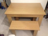 Oak veneer family dining table with bench seats, excellent condition