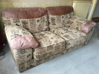 Beautiful Leather And Tapestry Two Seater Sofa