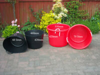 2 Red 70 litres VERY STRONG Buckets & 2 black 60 litres - For rubble collection - bricks tiles