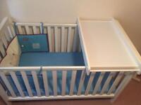 Mothercare Cot bed/toddler bed + changing unit with mattress.