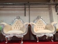 2 Ex-Display White & Silver Leaf Gilded Armchair Luxury Wedding Ornate Carved Throne Furniture Asian