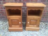 Pair of solid chunky pine bedside tables.