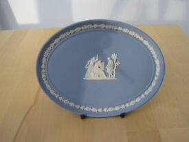 Collectors item - Wedgewood Jasperware commemorative oval plate and stand