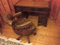 Traditional desk and leather captain's chair