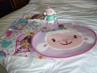 Doc McStuffin Lambie soft toy in Pyjamas and Brand new Bedroom mat