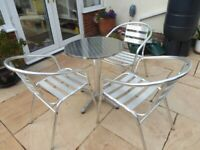 Bistro Table and 3 Chairs Lightweight Aluminium