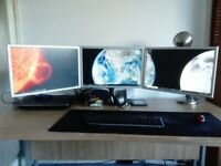 Triple monitors with Desk and chair (Quick Sale)