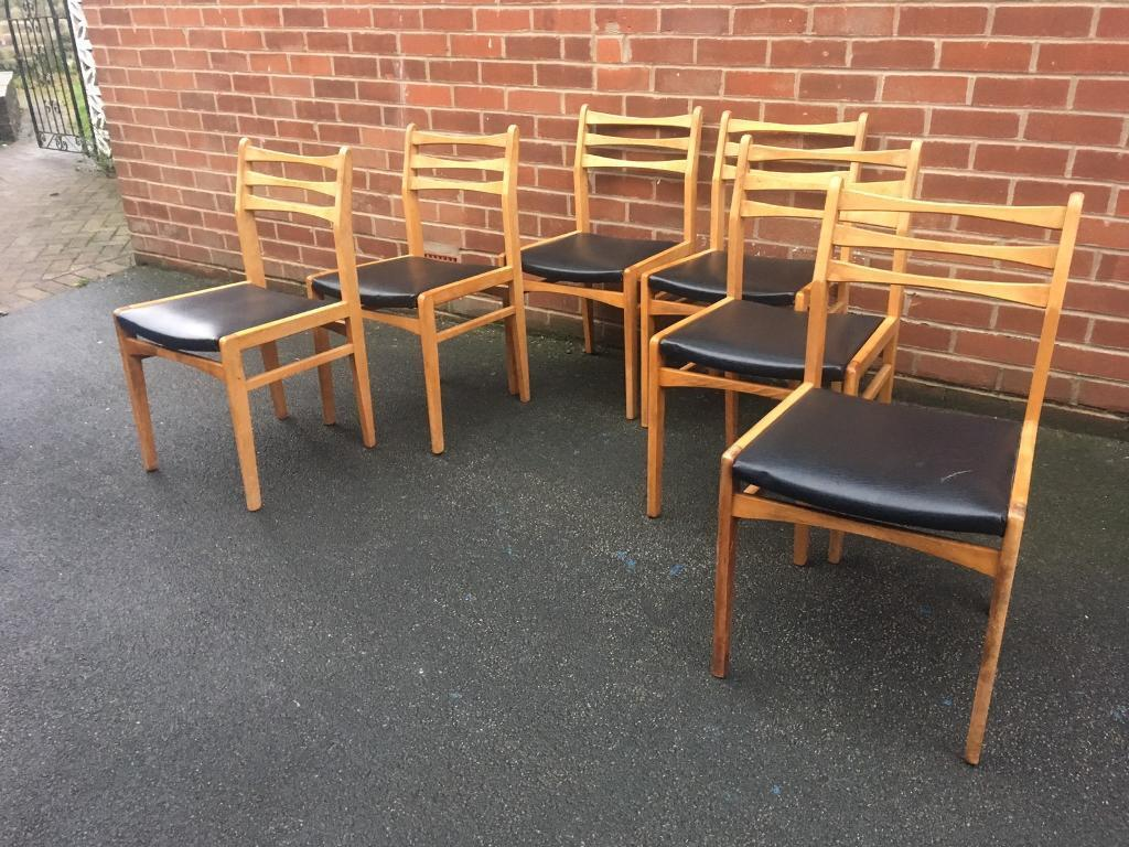 Teak kitchen dining chairs vintage 1970s black set of 6 leather mid century retro