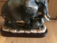 Mum elephant and baby elephant ornament