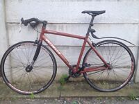 """Specialized Langster 15"""" single speed / fixed gear bicycle road bike w/ Omega Mach 1 rims + D lock"""
