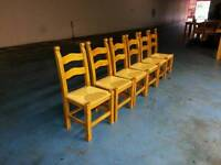 6 X solid oak dining table chairs ( item 3 )