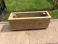 Handmade trough wooden planter