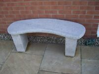 Curved Solid Stone Bench