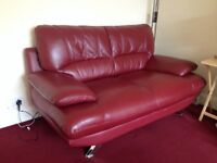Harvey's Red Leather 3 seat Sofa