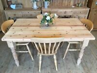 Large 4 - 6 seater rustic farmhouse solid stripped pine table and 4 chairs