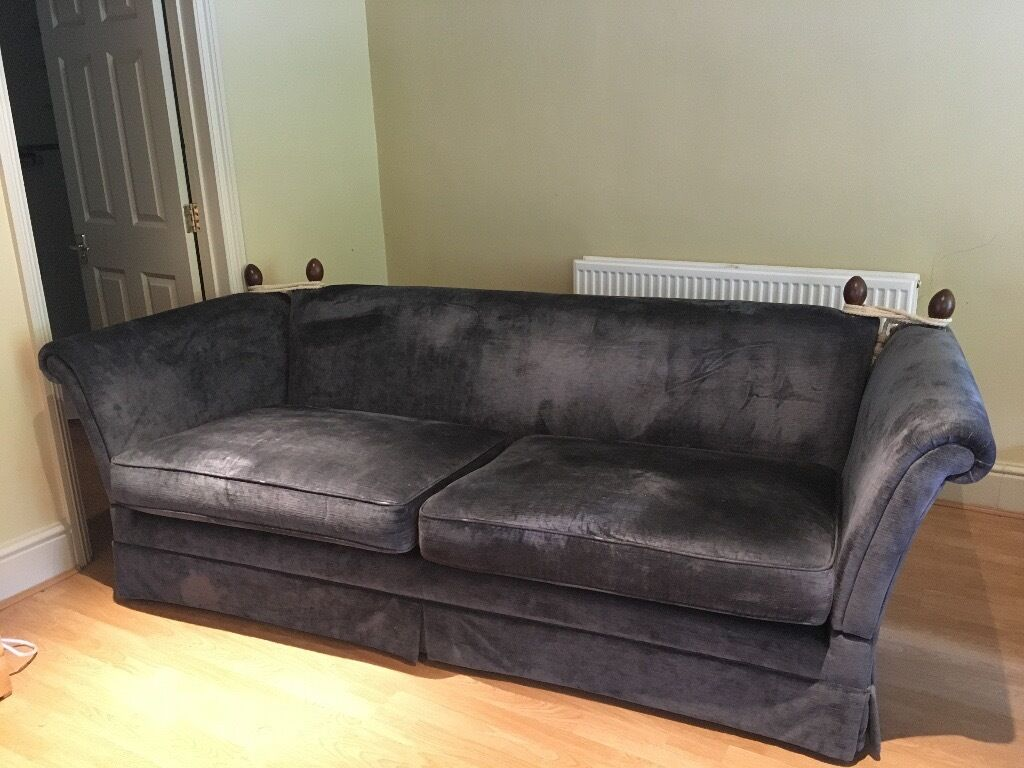 Laura Ashley Grande Langham Sofa In Charcoal Grey Very Good Condition Hardly Used In