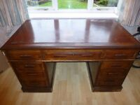 Antique Solid Wood Large Captains Desk