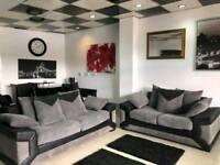 Beautiful Black Leather and Grey Chord 3+2 Sofa