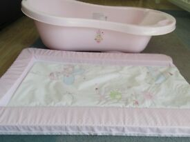 Baby bath and matching change mat